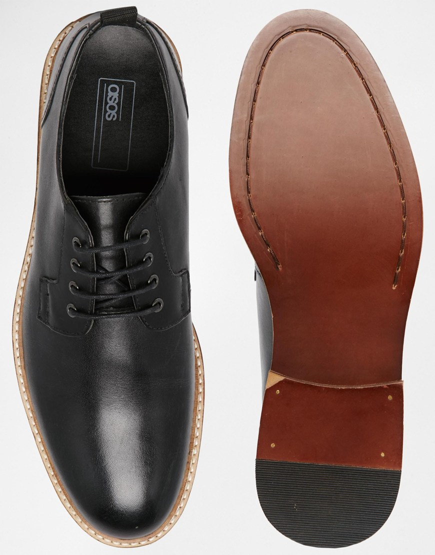 8ae3f18d76a2d Lyst - ASOS Derby Shoes In Black Leather With Natural Sole in Black ...