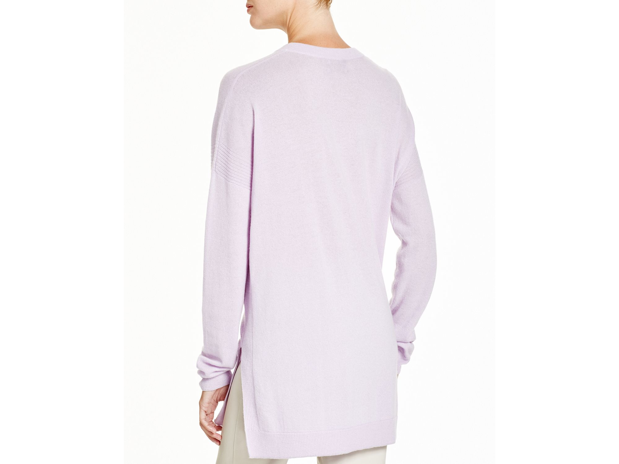 Vince V Neck Cashmere Sweater in Purple | Lyst