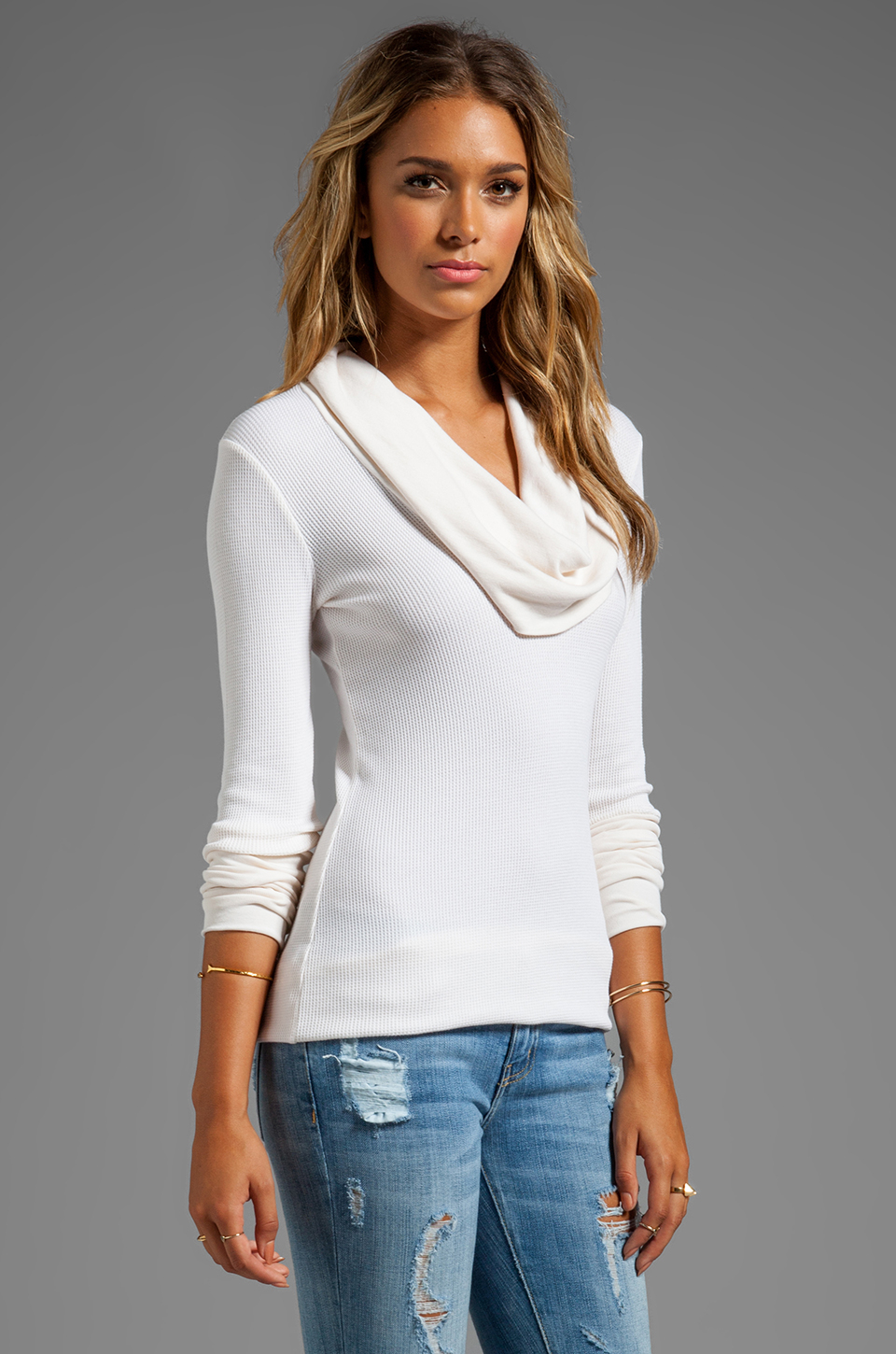 3fa075856a8 Splendid Thermal Long Sleeve Cowl Neck in Cream in White - Lyst