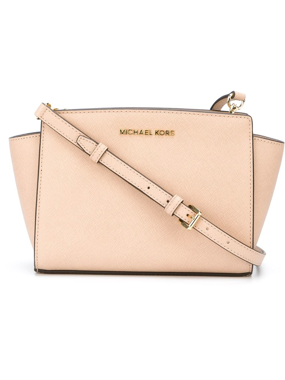 0e87c2d733a8 ... cheapest lyst michael michael kors selma cross body bag in pink 3f41a  8ec08