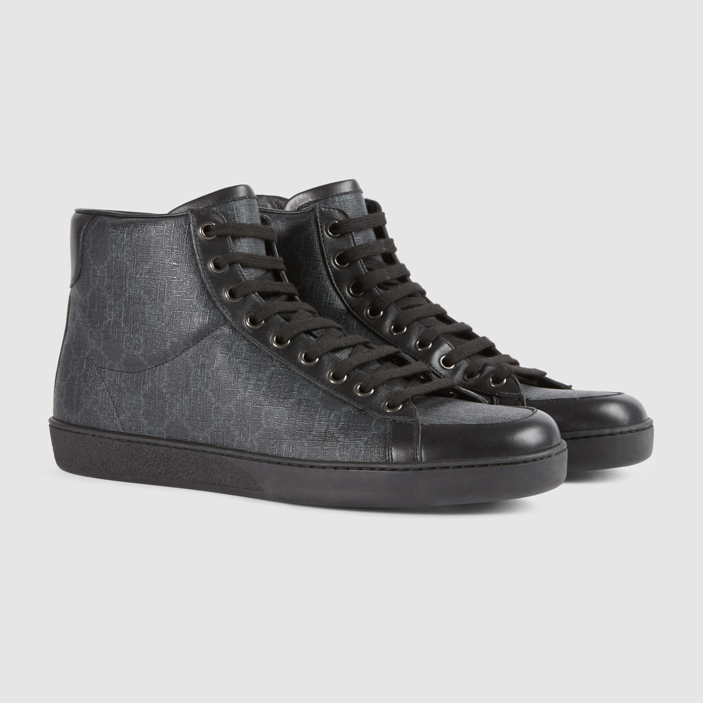lyst gucci gg supreme high top sneaker in gray for men. Black Bedroom Furniture Sets. Home Design Ideas