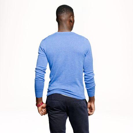 J Crew Slim Rugged Cotton Vneck Sweater In Blue For Men