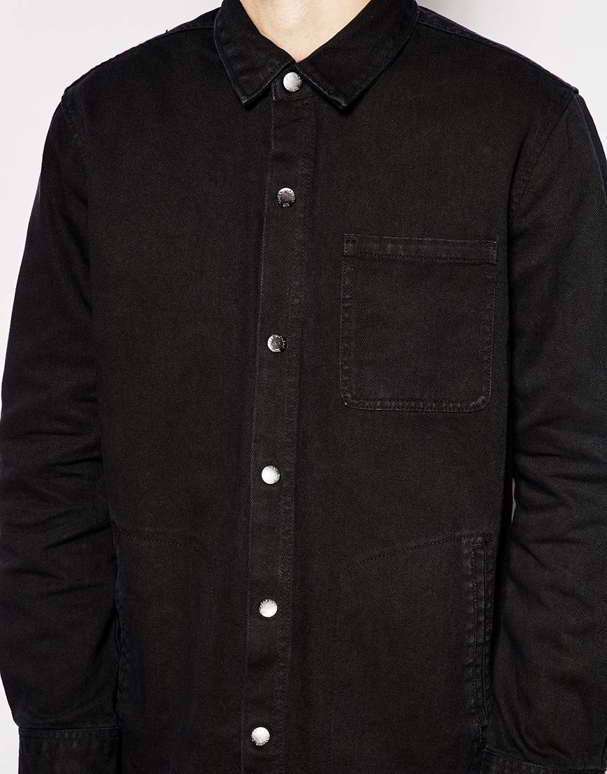 Cheap monday Overshirt Jacket Labour Twill in Black for Men | Lyst