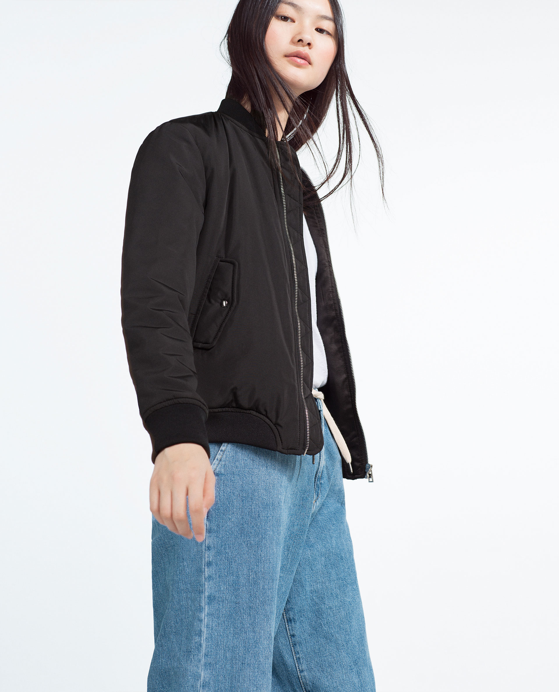 Zara Nylon Bomber Jacket In Black Lyst