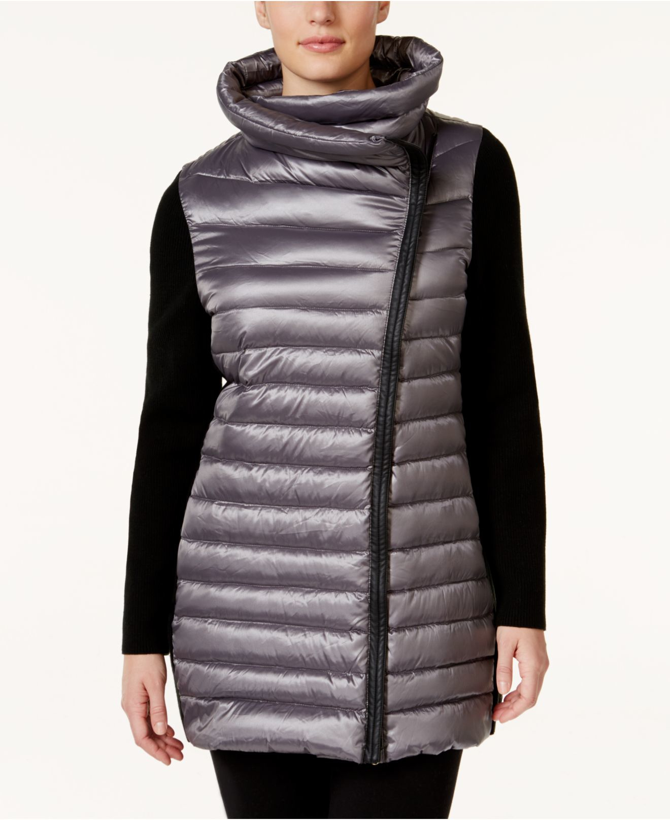 e9bc4e186b1b4 Lyst - Calvin Klein Performance Plus Size Asymmetrical Puffer Jacket ...