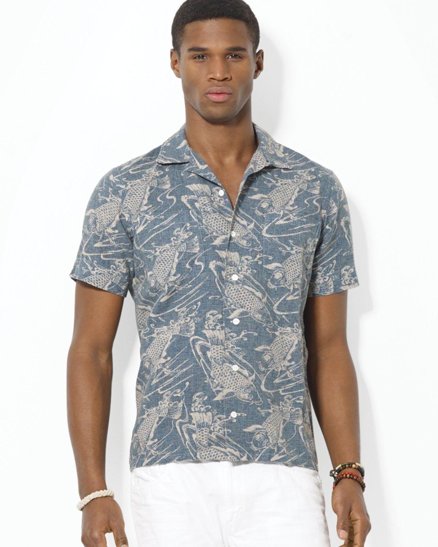 Ralph lauren polo short sleeved fish print lee camp shirt for Fish print shirt