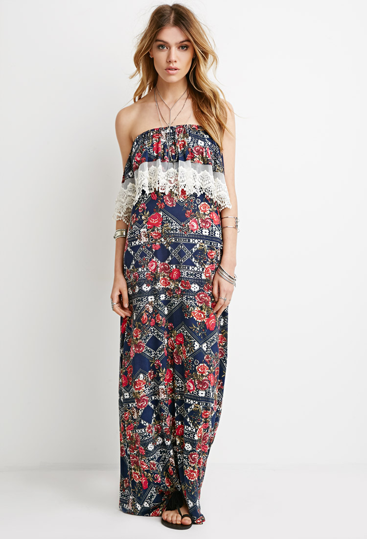 Forever 21 Strapless Floral Maxi Dress Lyst