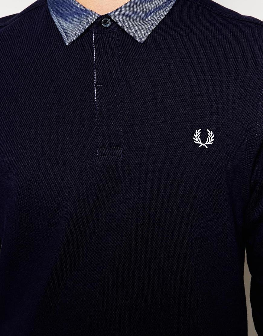 Lyst Fred Perry Long Sleeve Polo Shirt With Woven Trim