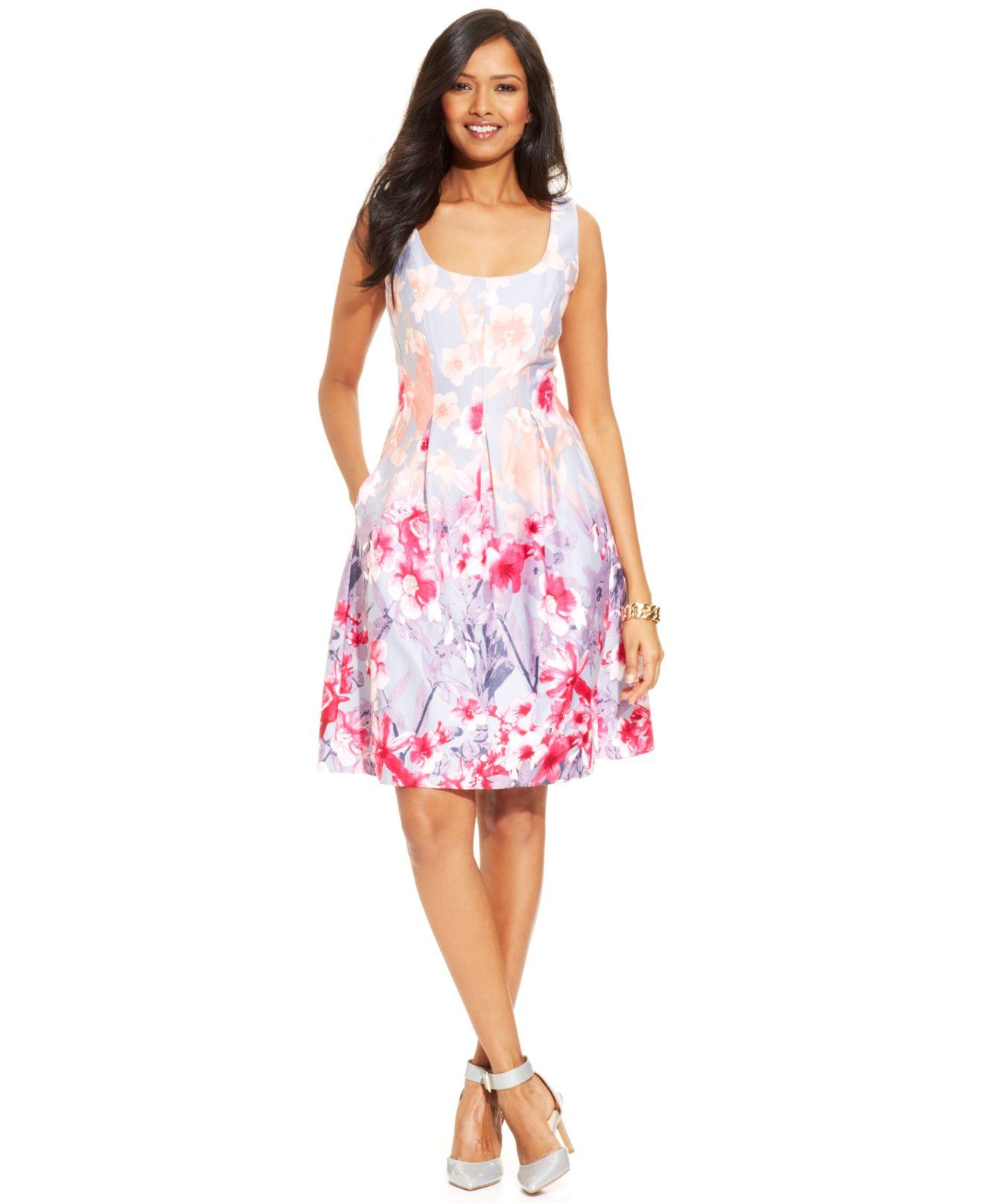 c033ac6311cc8 Lyst - Nine West Floral-Print Pleated Dress