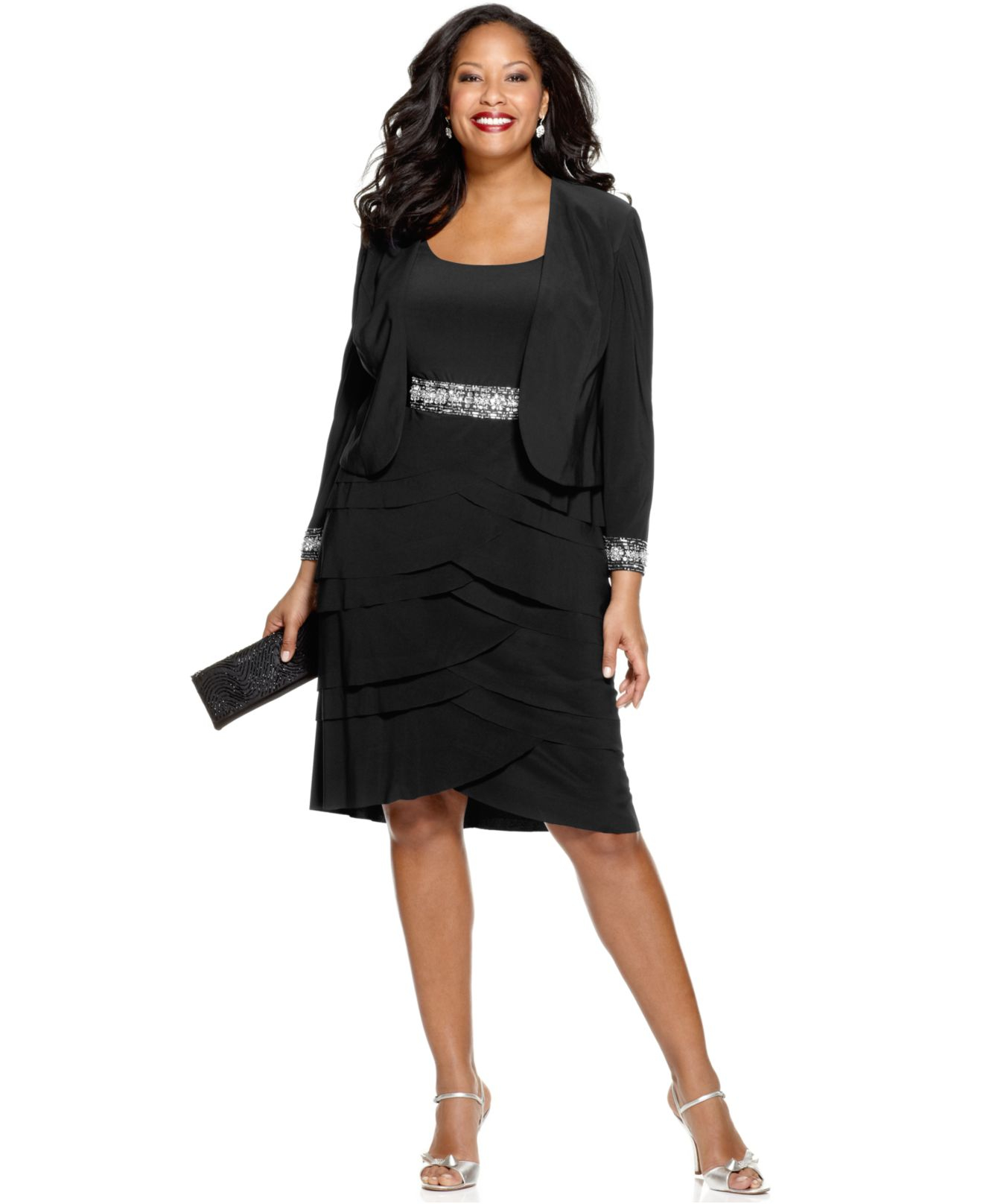 Lyst - Alex Evenings Plus Size Beaded Tiered Dress And Jacket in Black