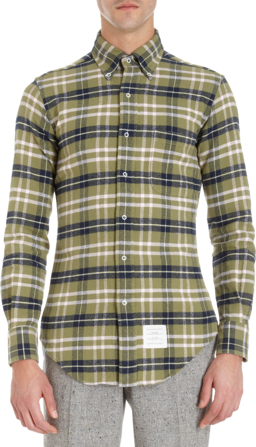 Thom Browne Plaid Shirt With Snap Closures In Green For