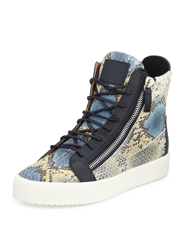 Lyst - Giuseppe Zanotti Snake-Print High-Top Sneakers for Men 69bf893ff786