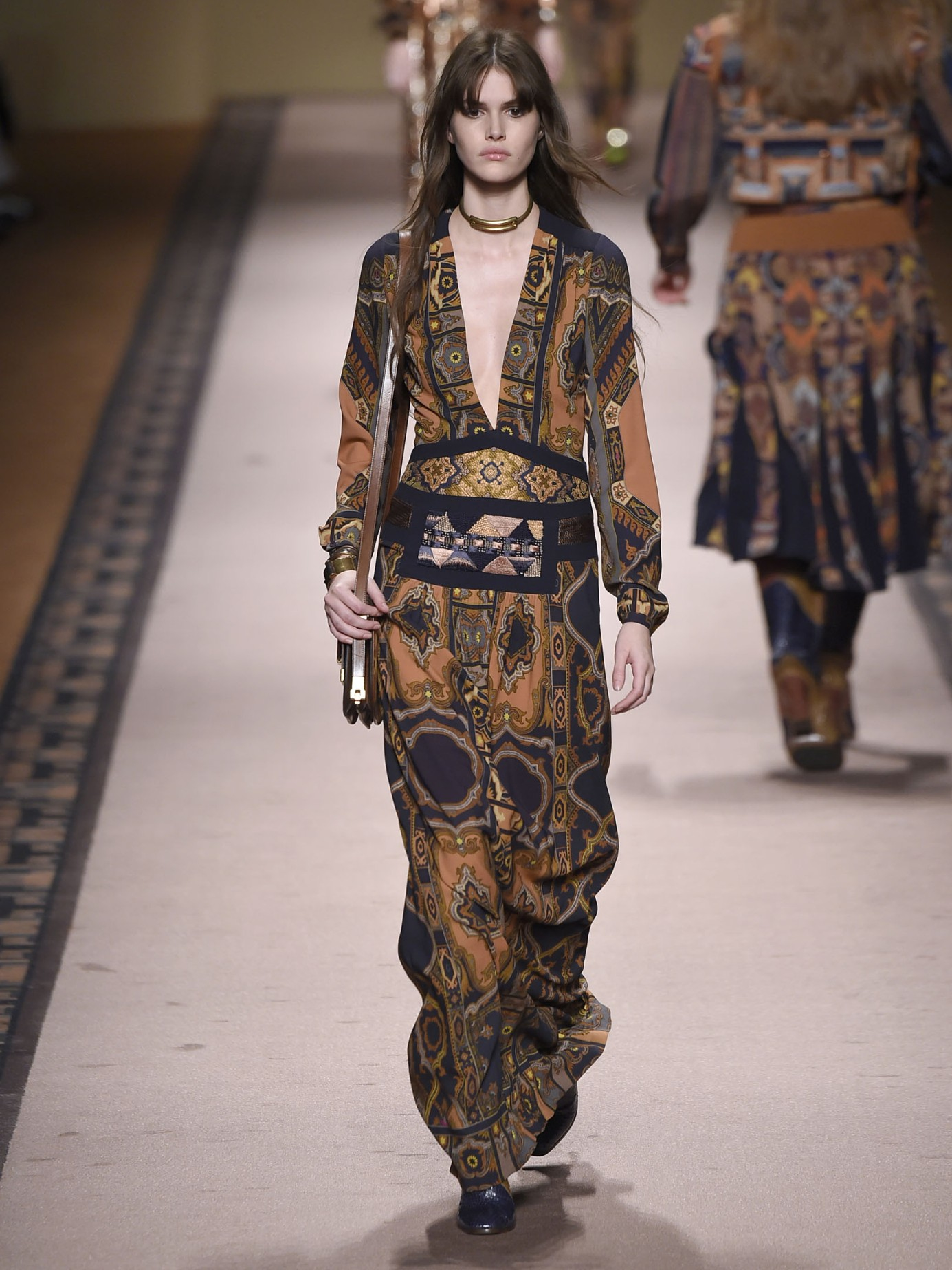Lyst - Etro Embroidered Paisley-Print Gown in Brown