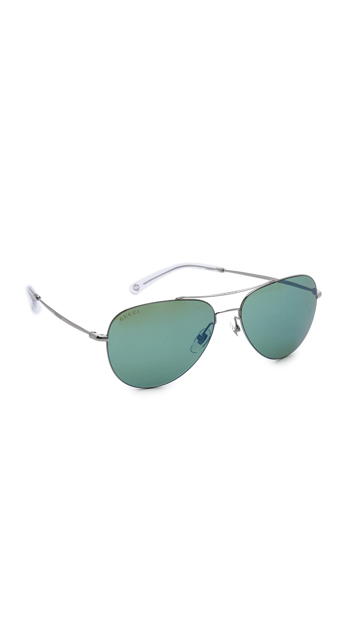 Lyst Gucci Aviator Mirror Sunglasses Ruthenium Green