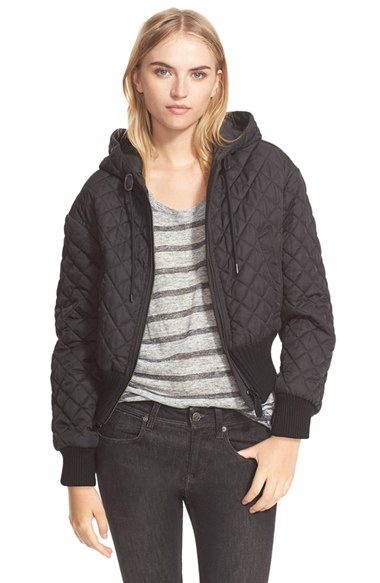Burberry brit hooded quilted jacket black