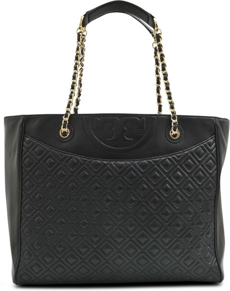 Tory Burch Quilted Fleming Ew Tote In Black Lyst