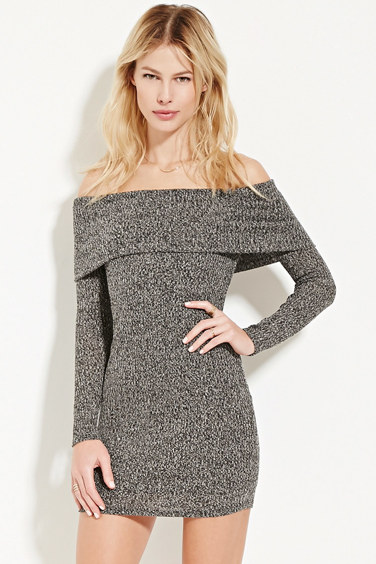 Forever 21 Off-the-shoulder Sweater Dress in Black | Lyst