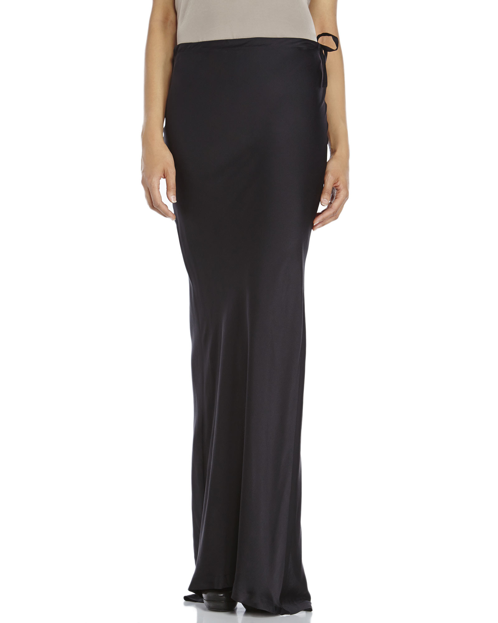 Ann demeulemeester Black Silk Maxi Skirt in Black | Lyst
