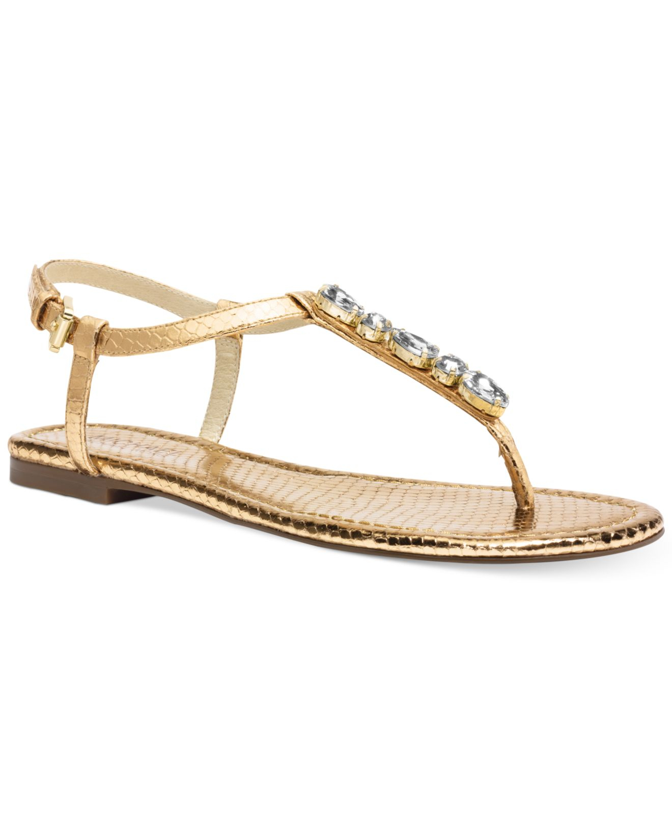 237059e52092b0 Lyst - Michael Kors Michael Jayden Jeweled Flat Thong Sandals in ...