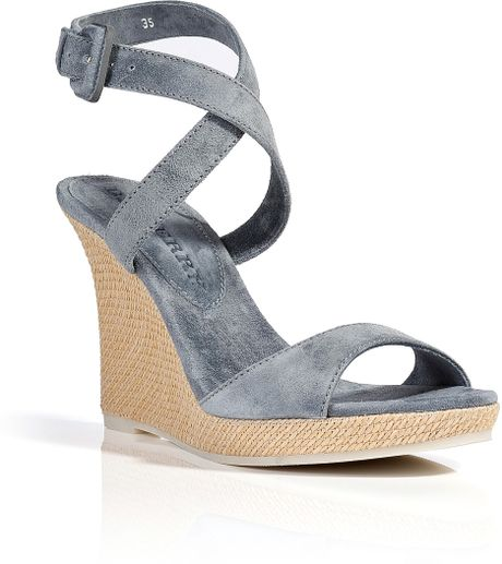 burberry suede wedge sandals in gray lyst