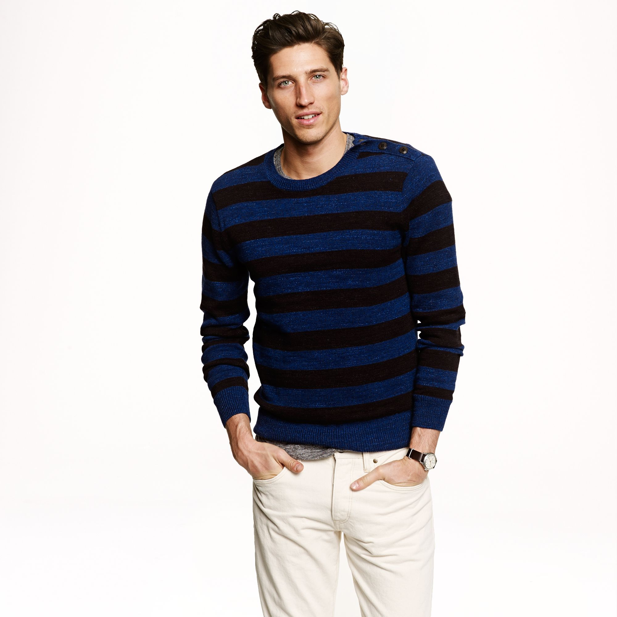 Preorder stripe cotton sweater in black for men lyst for J crew mens outfits