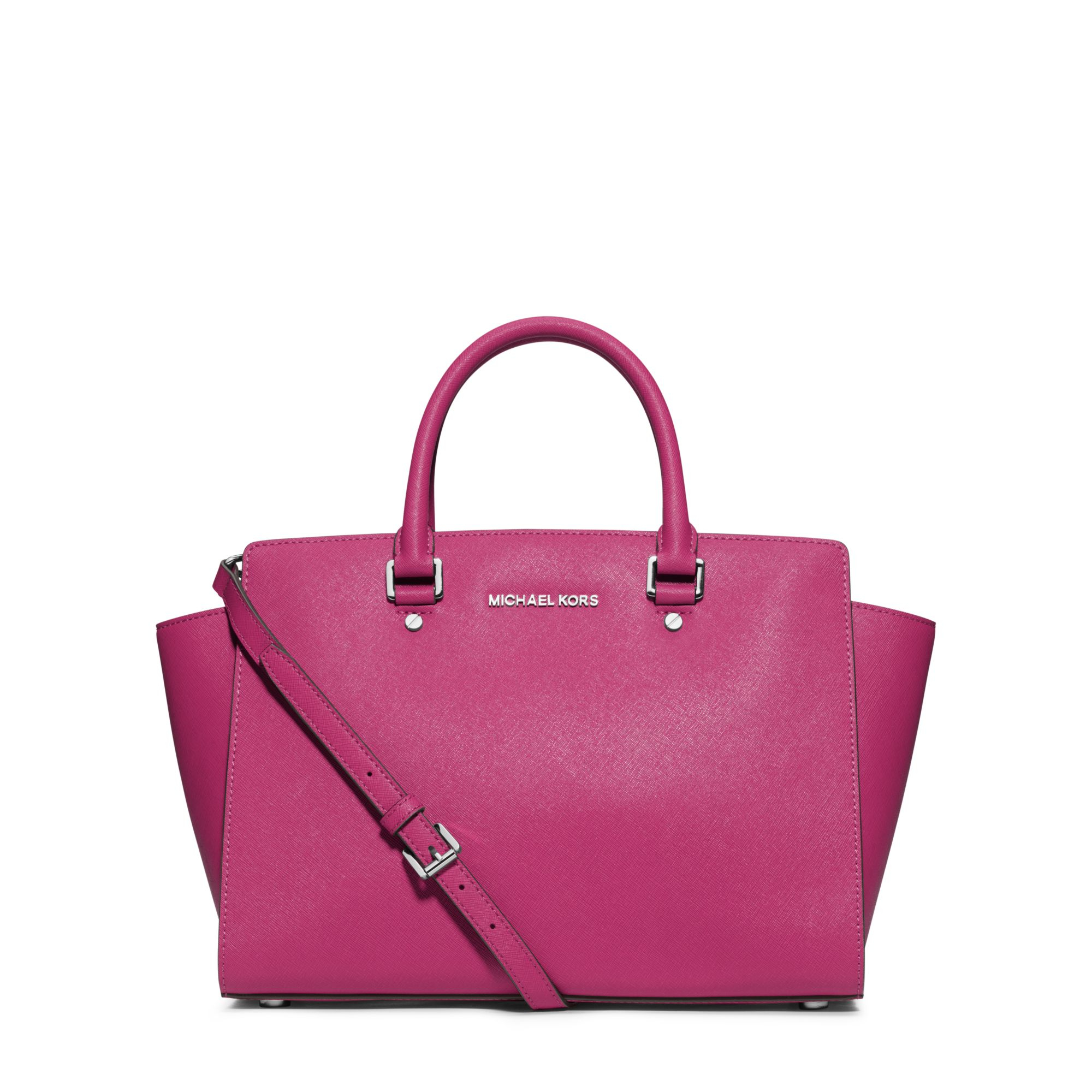 michael kors selma large saffiano leather satchel in pink lyst. Black Bedroom Furniture Sets. Home Design Ideas