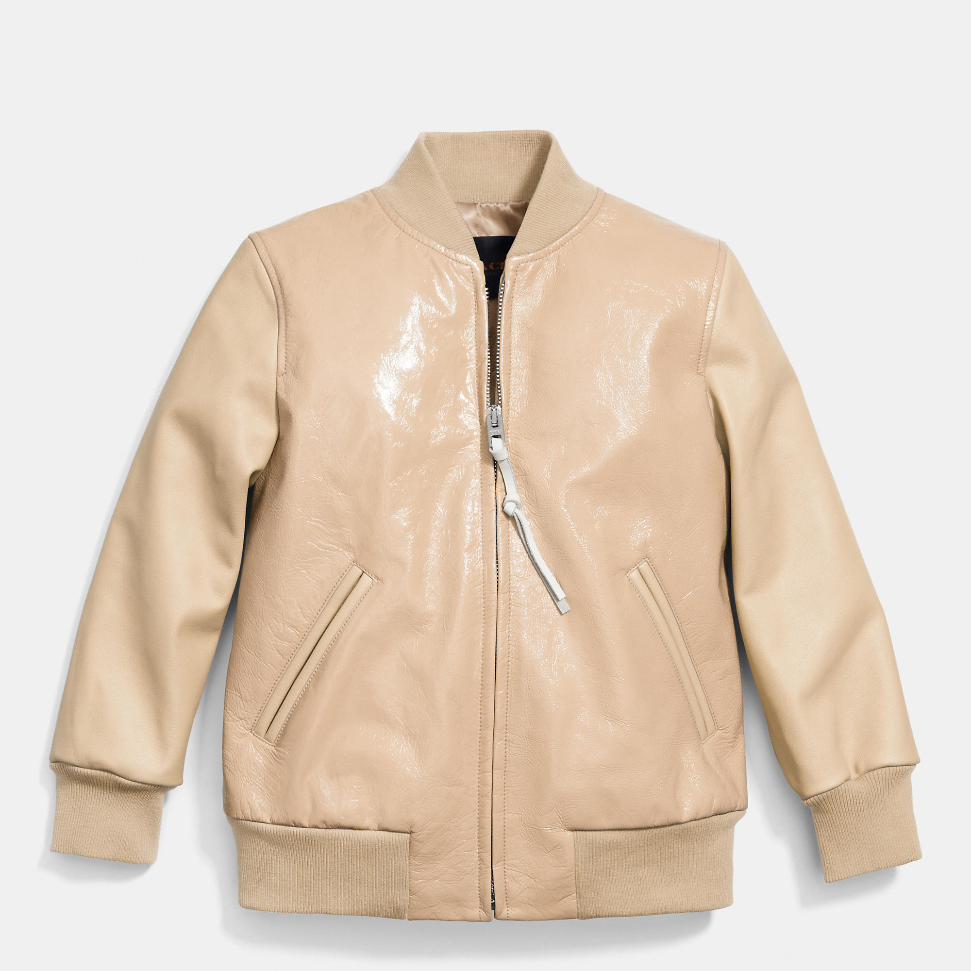 Coach Patent Combo Baseball Jacket in Natural | Lyst