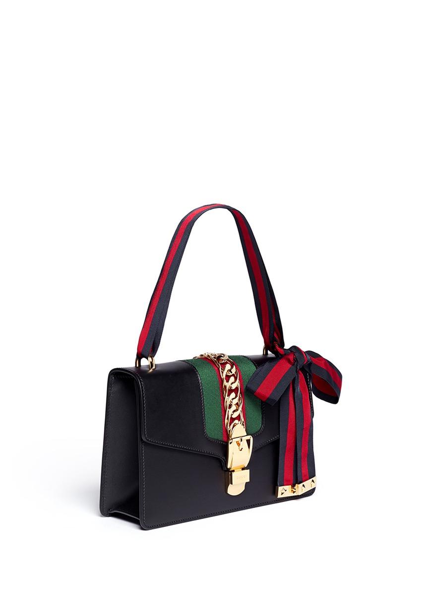 3a21425bab9 Lyst - Gucci  sylvie  Leather Shoulder Bag in Black