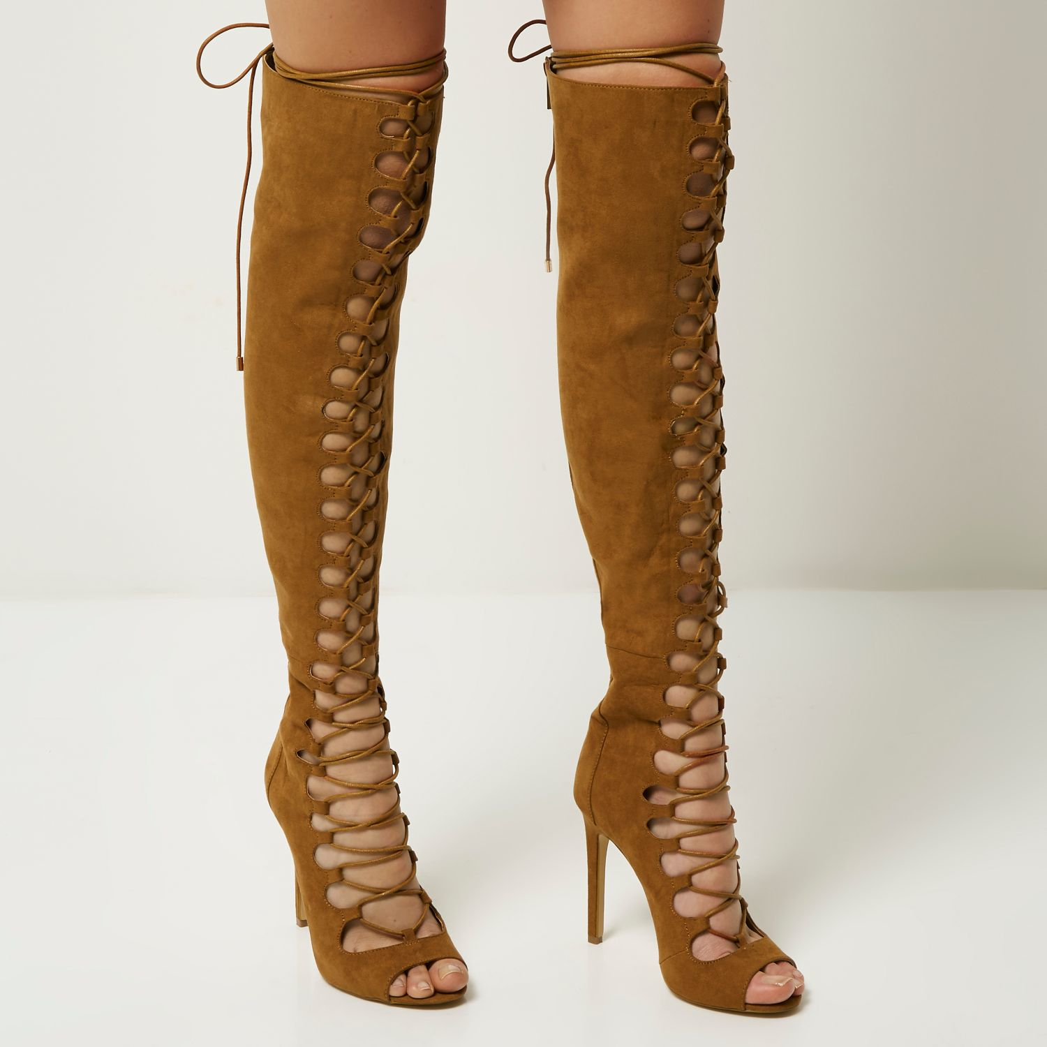 River island Tan Lace-up Over The Knee Heeled Boots in Brown | Lyst