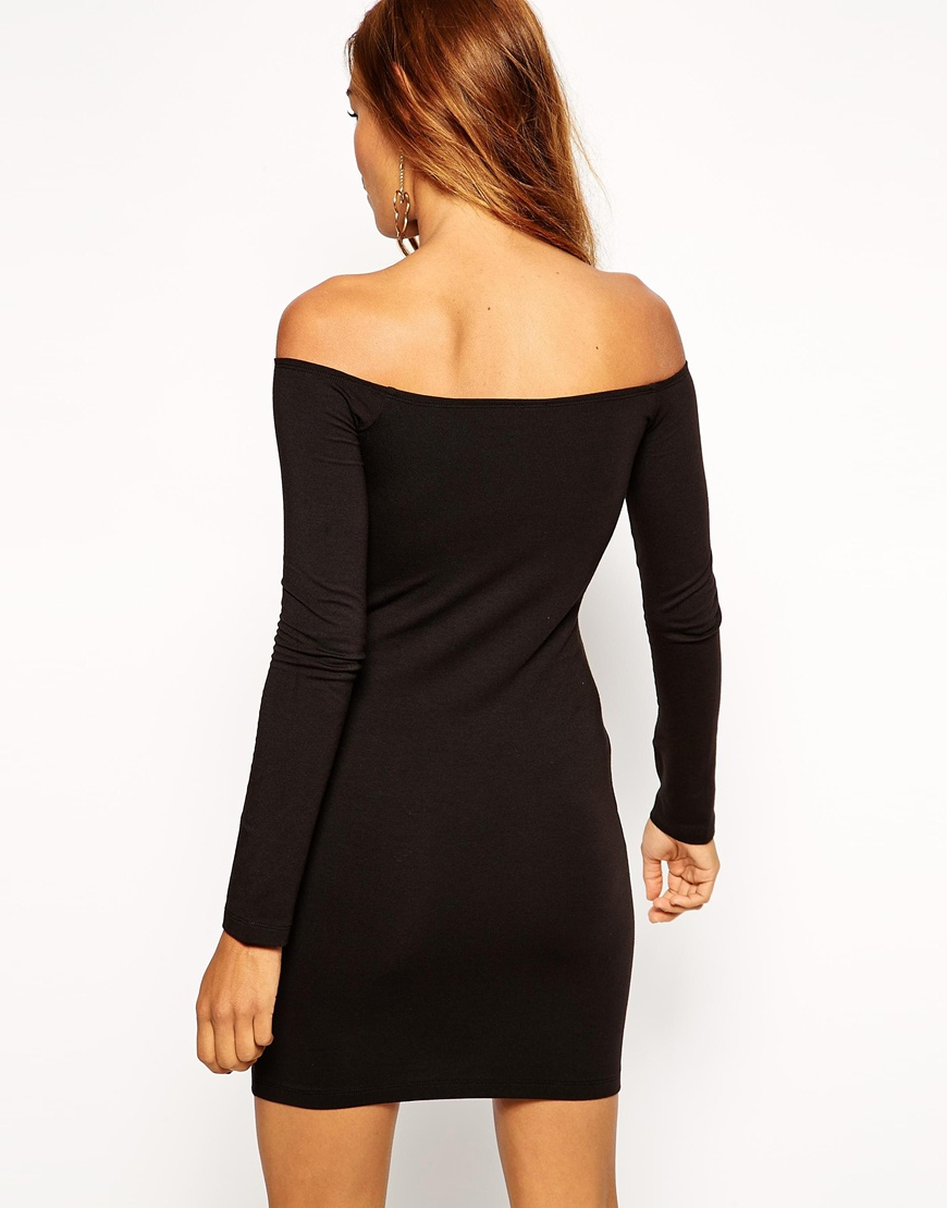 Lyst Asos Long Sleeve Mini Bardot Body Conscious Dress