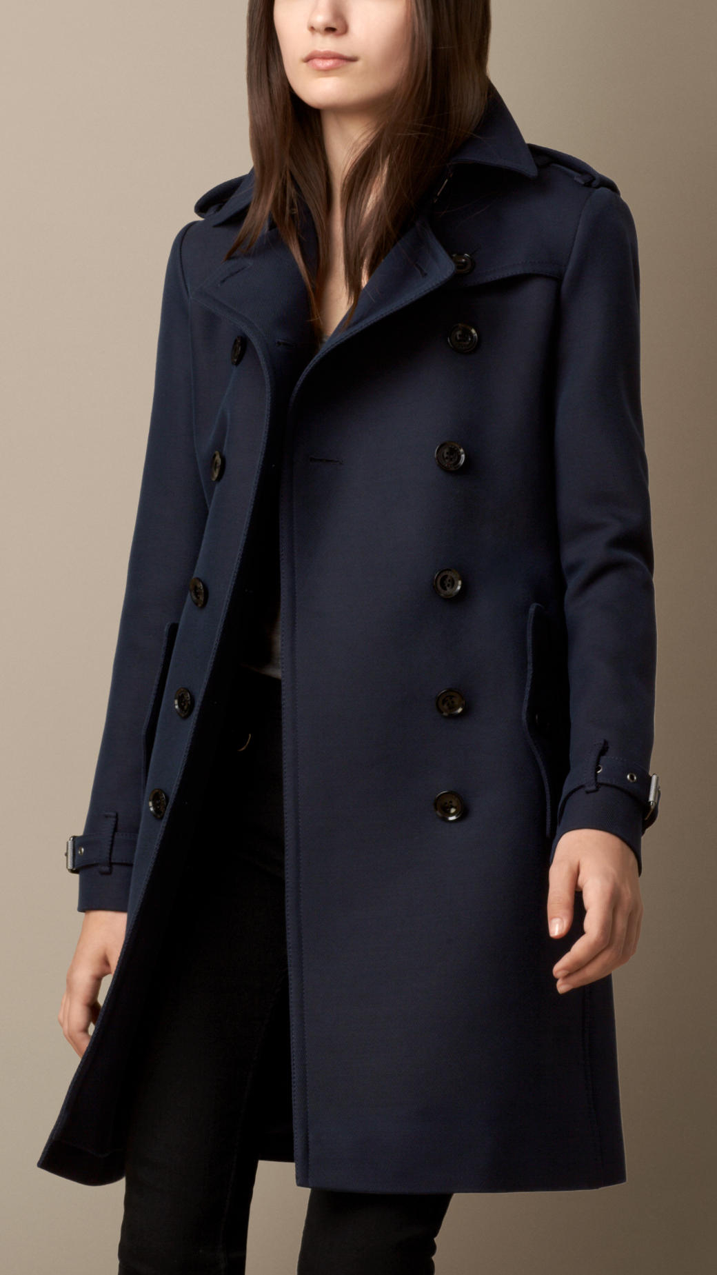 burberry cotton wool blend twill trench coat in blue navy. Black Bedroom Furniture Sets. Home Design Ideas