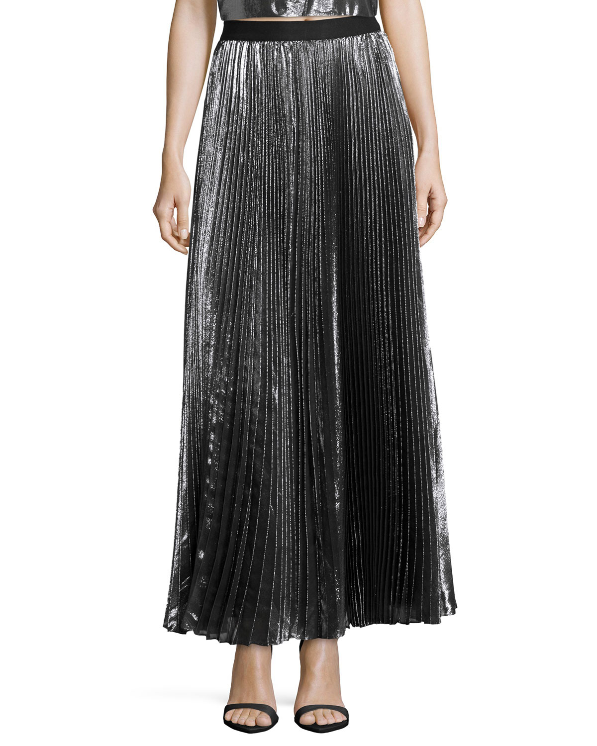 Rebecca taylor Pleated Metallic Maxi Skirt in Gray | Lyst