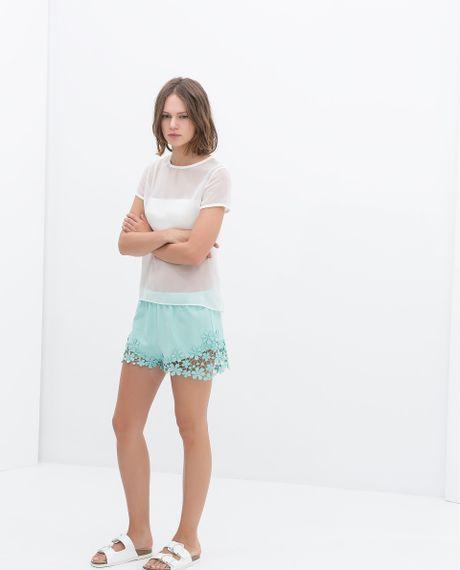 Crochet Hem Shorts Shorts With Crochet Hem in