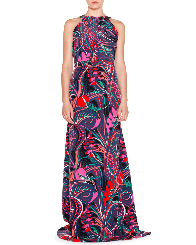 858c84d02009 Lyst - Emilio Pucci Sleeveless Multi-print Maxi Dress