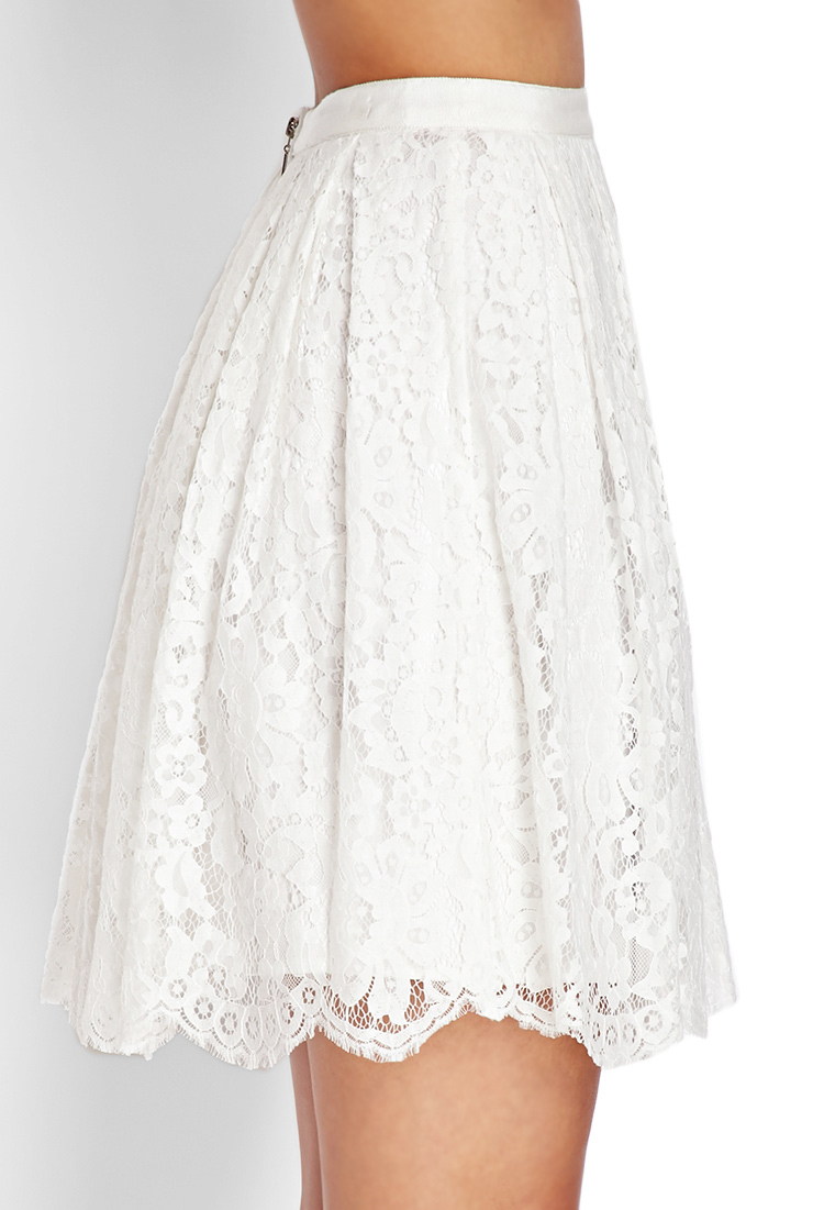 Forever 21 Floral Lace A-line Skirt in White | Lyst