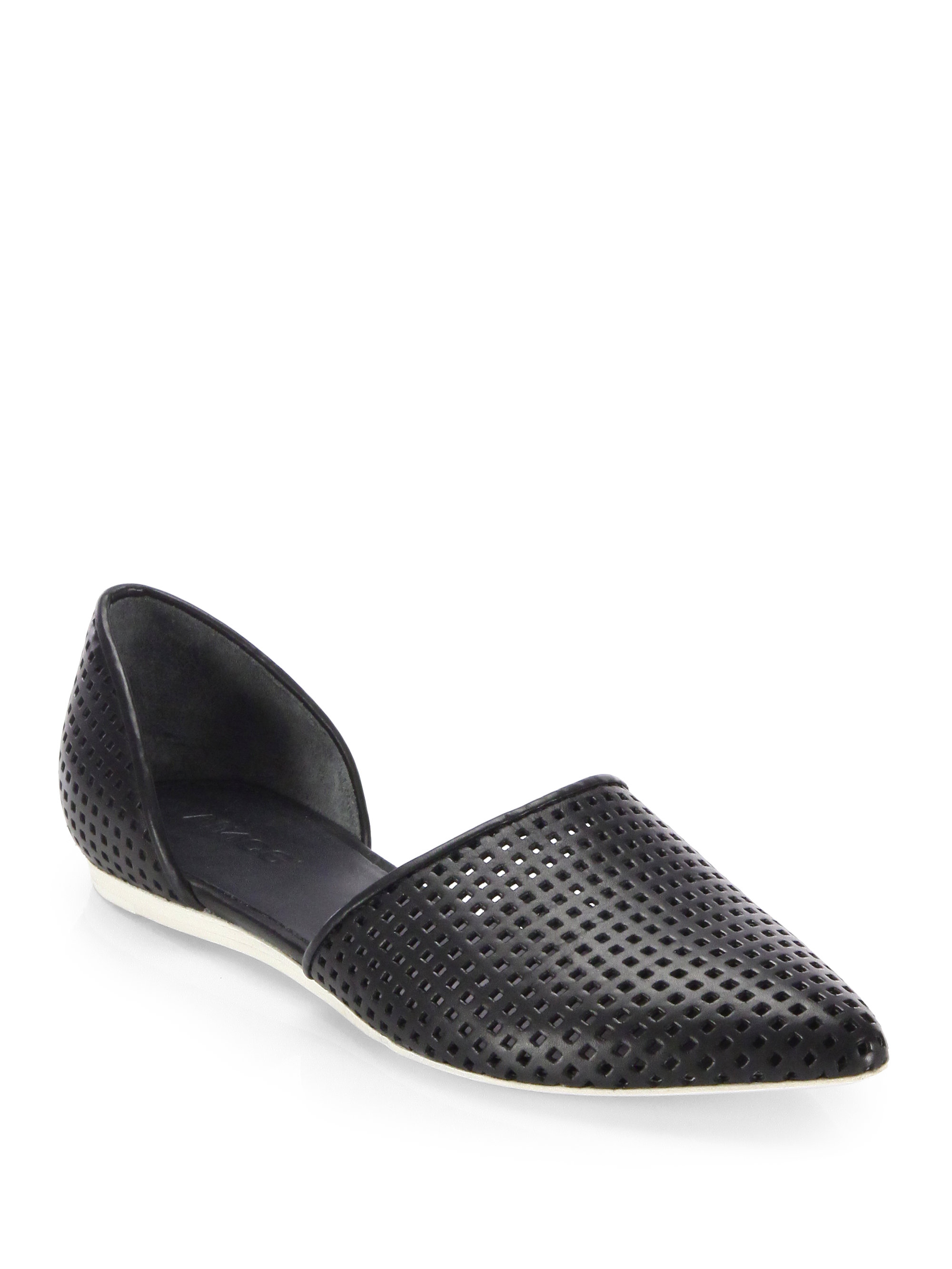 Lyst Vince Nina Perforated Leather D Orsay Flats In Black