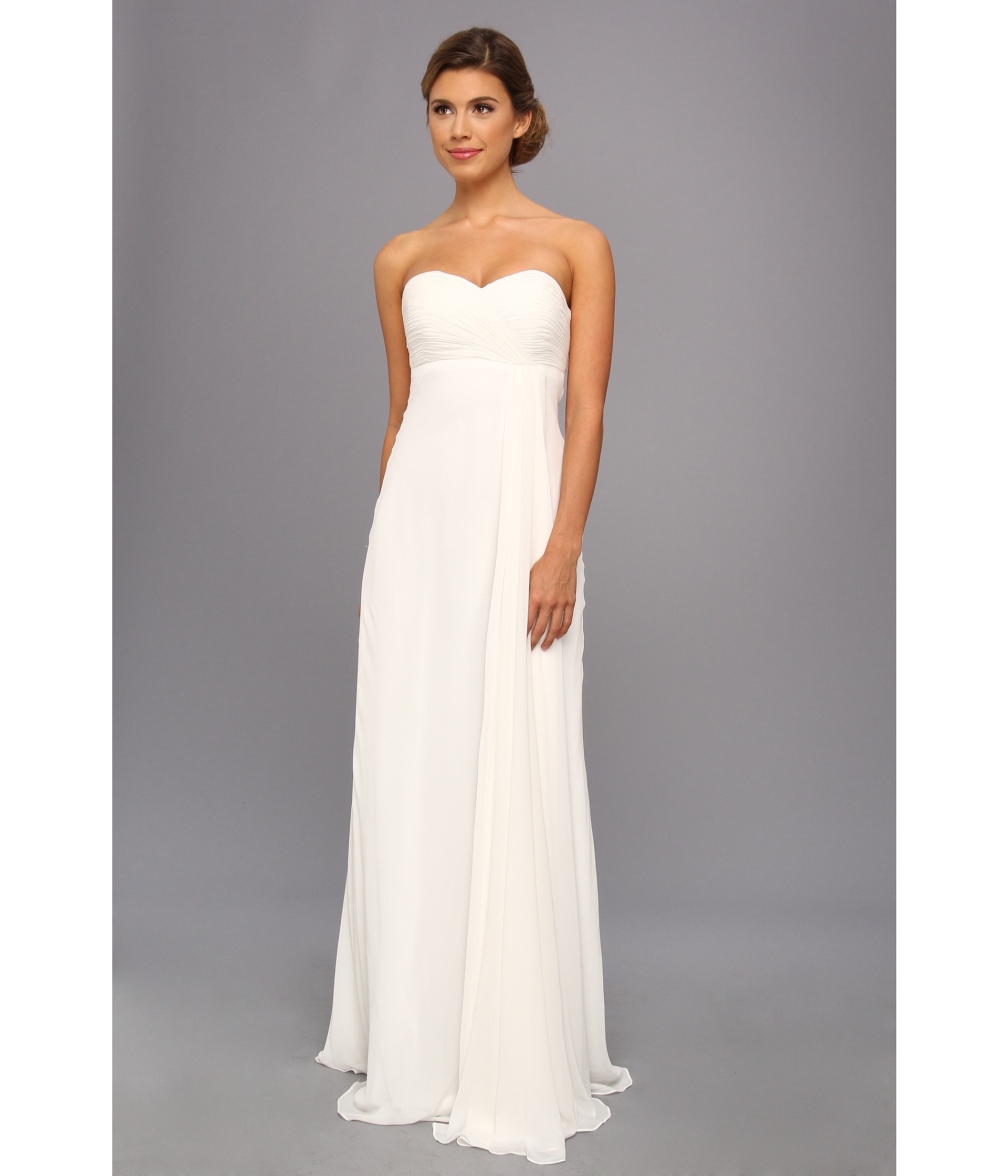 Strapless Ruched Chiffon Gown – fashion dresses