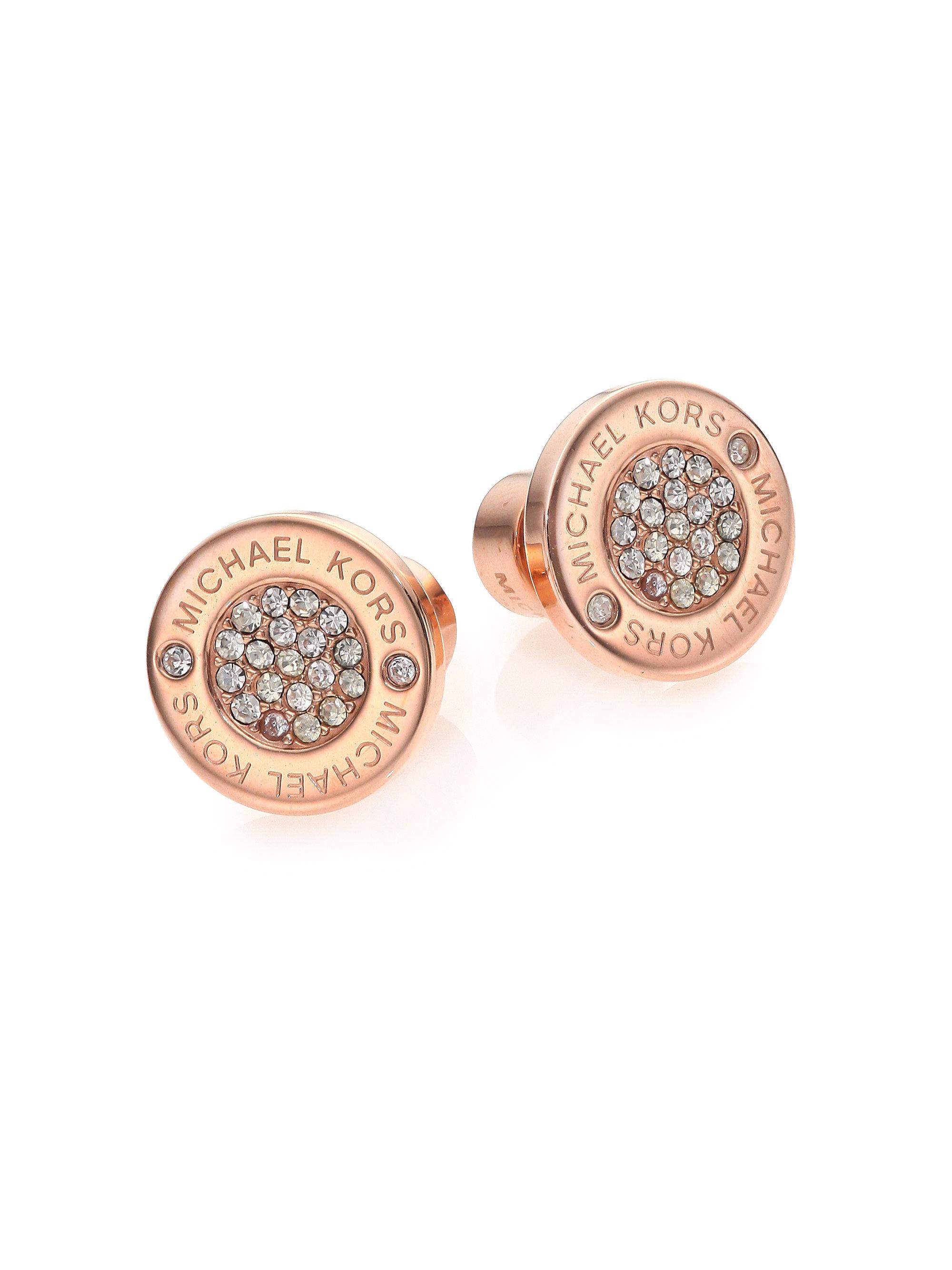f4173e2a56d1ac michael kors rose gold pave hoop earrings jet set travel logo continental  wallet