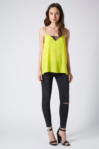 Topshop Chartreuse Lace Insert Cami Top in