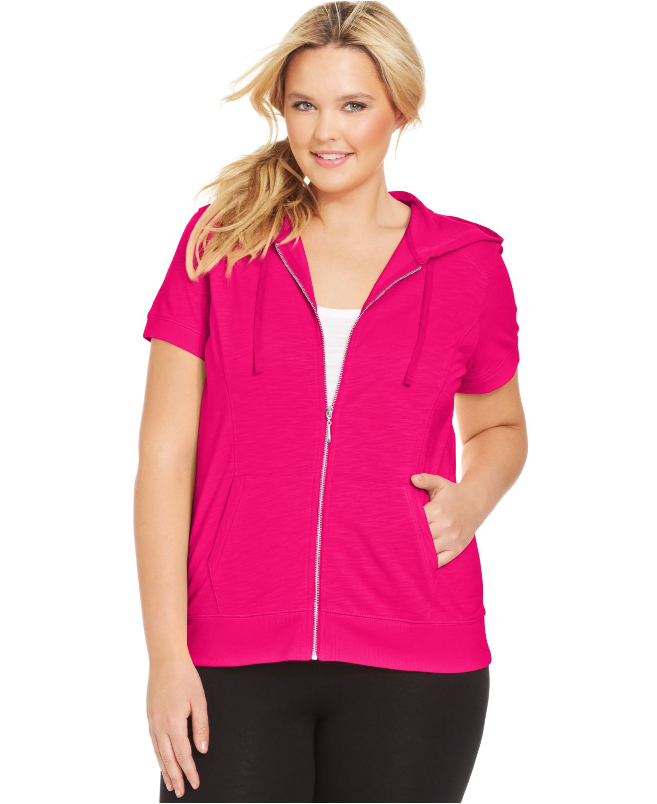 style & co. style&co. sport plus size short-sleeve hoodie in pink