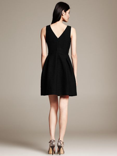 Banana Republic Tweed Fit And Flare Dress Black In Black