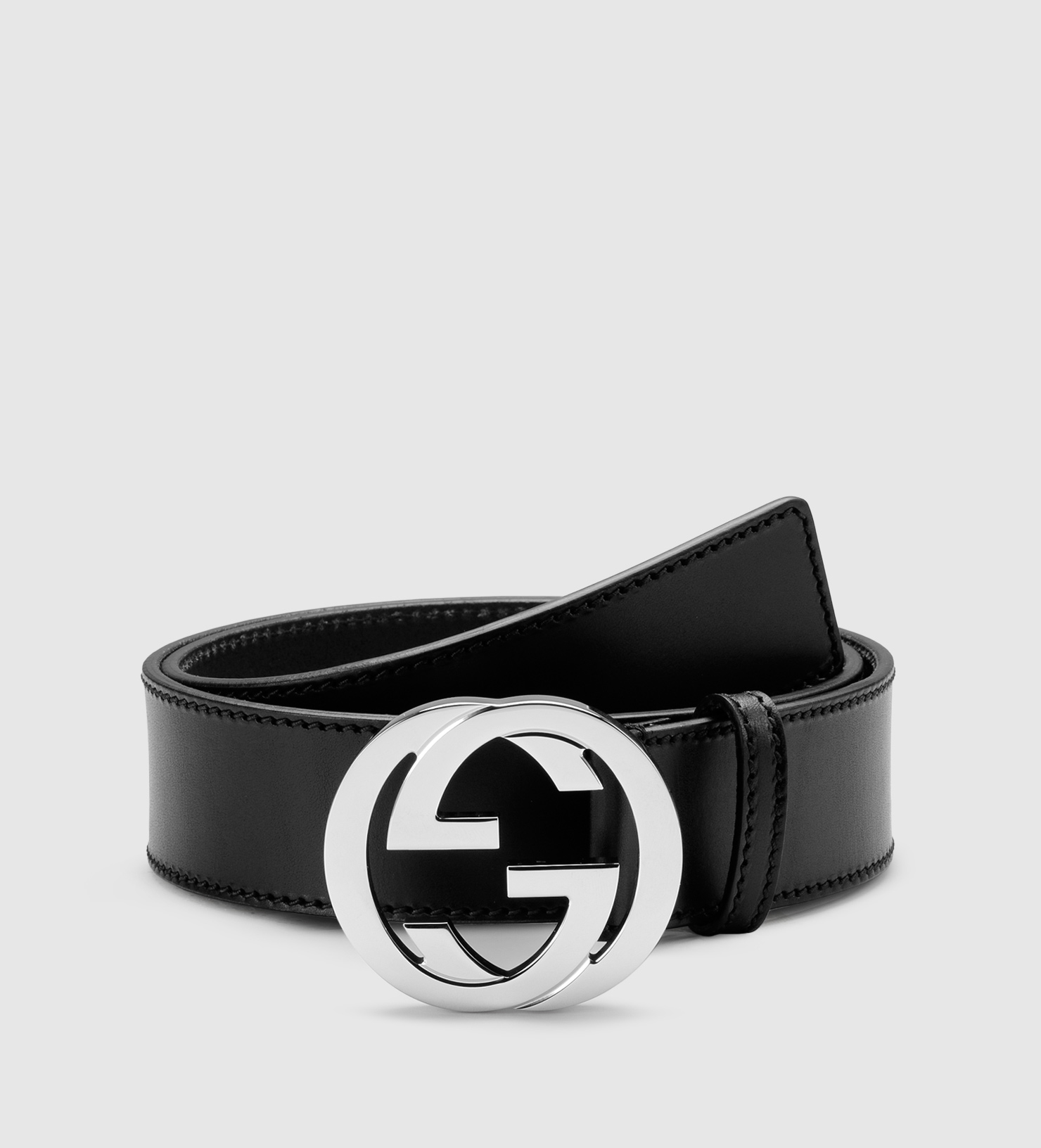 Gucci Leather Belt With Interlocking G Buckle in Black for ...