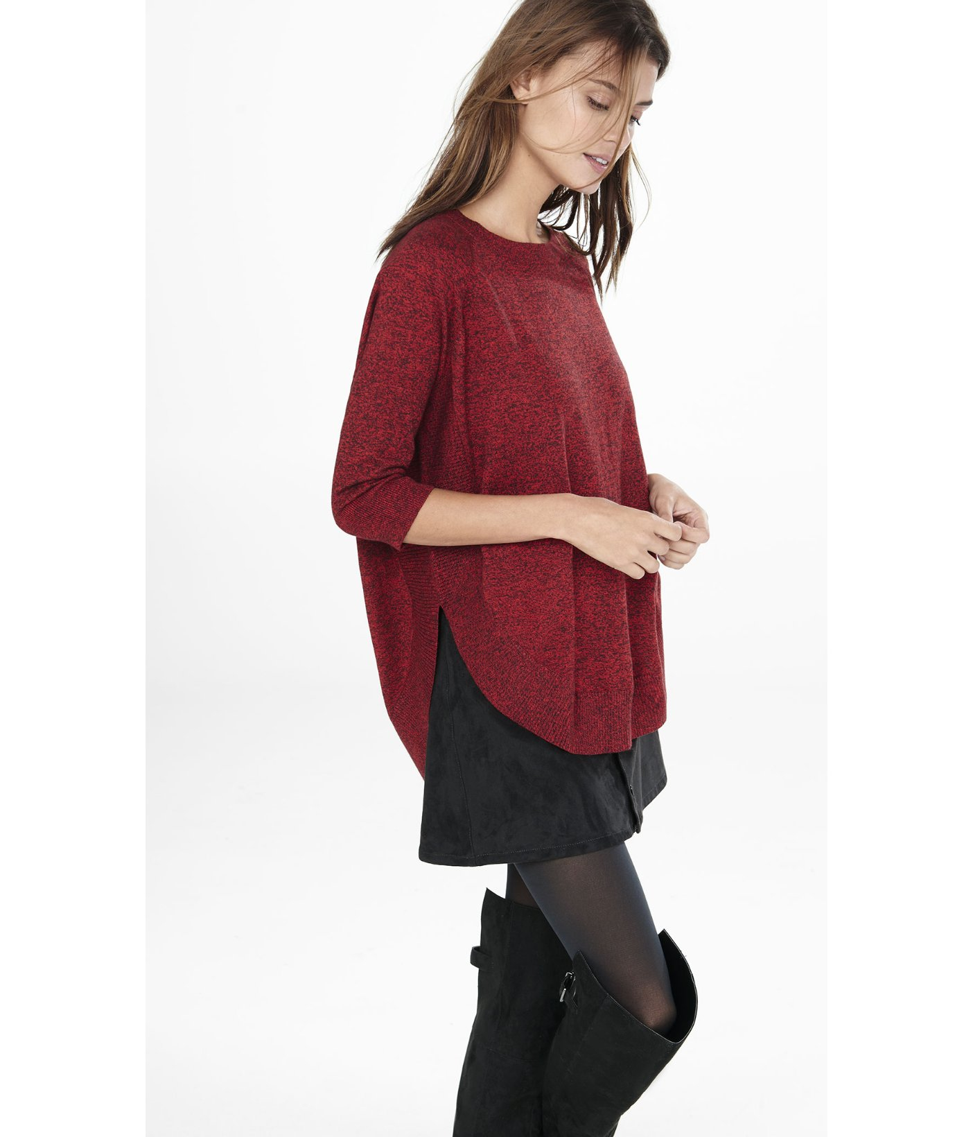 Express Marled Extreme Circle Hem Tunic Sweater in Red | Lyst