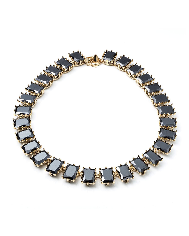 eddie borgo rectangle estate necklace in black lyst