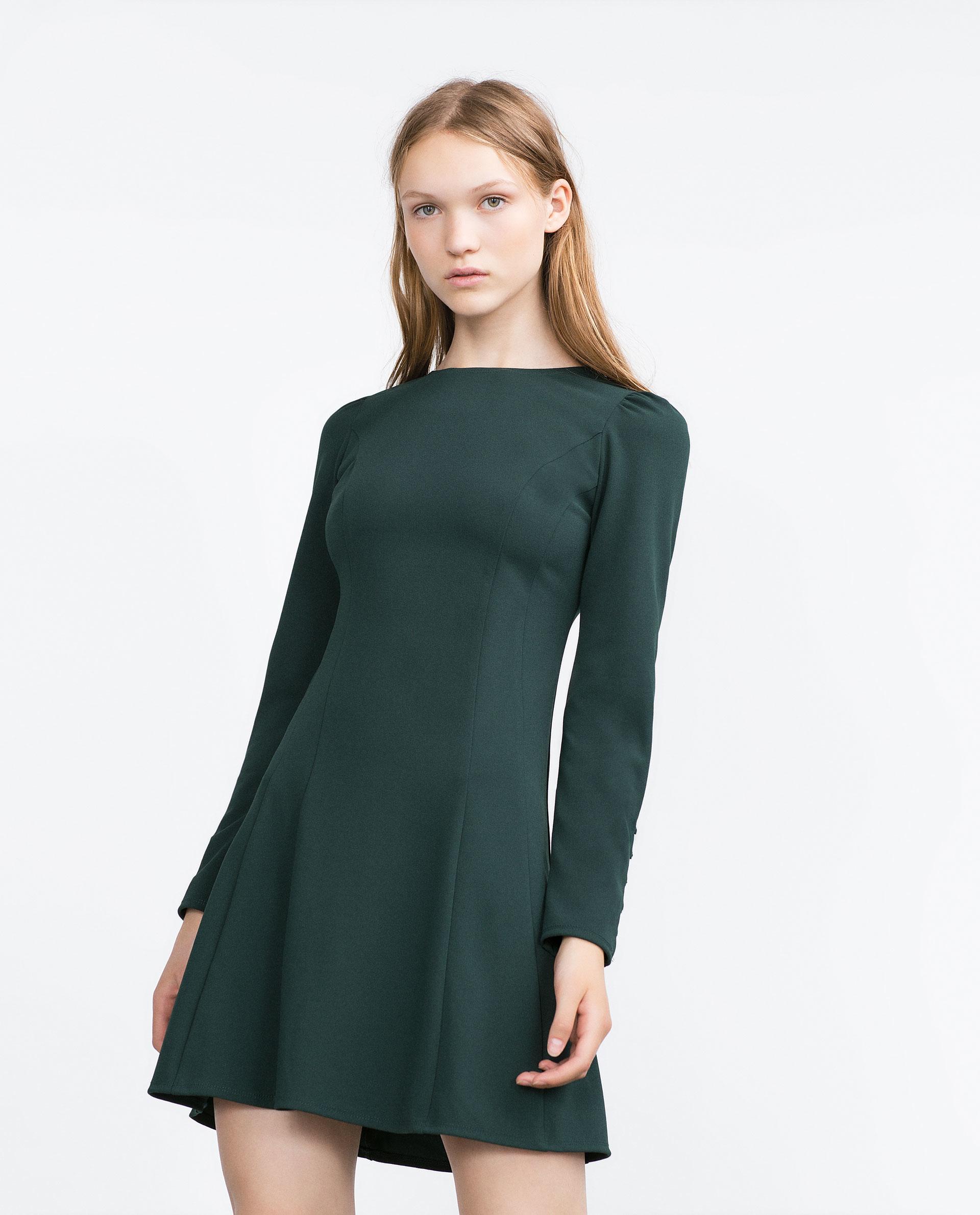 zara cuffed dress in green lyst. Black Bedroom Furniture Sets. Home Design Ideas