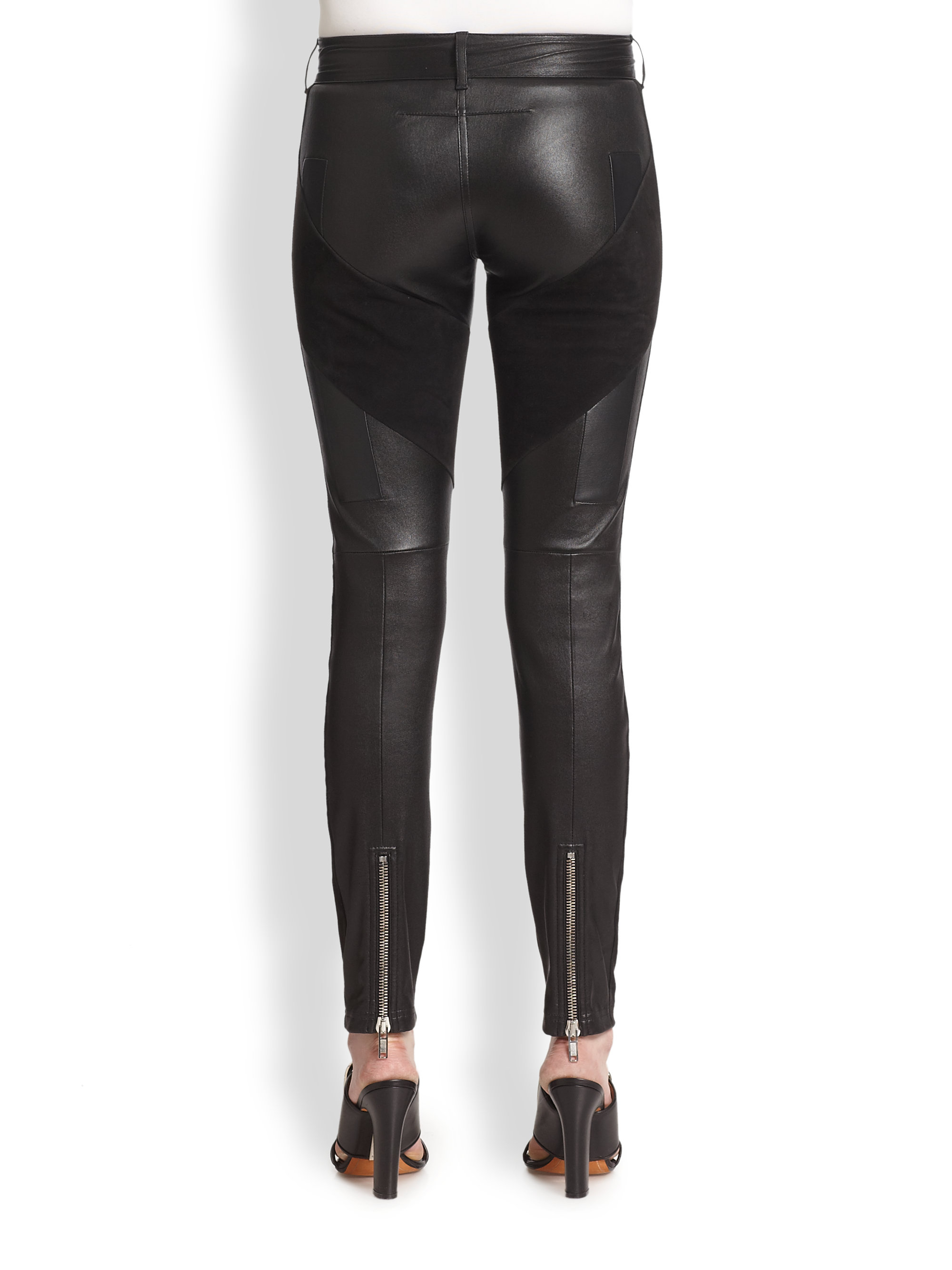 Givenchy Leather & Suede Leggings in Black | Lyst