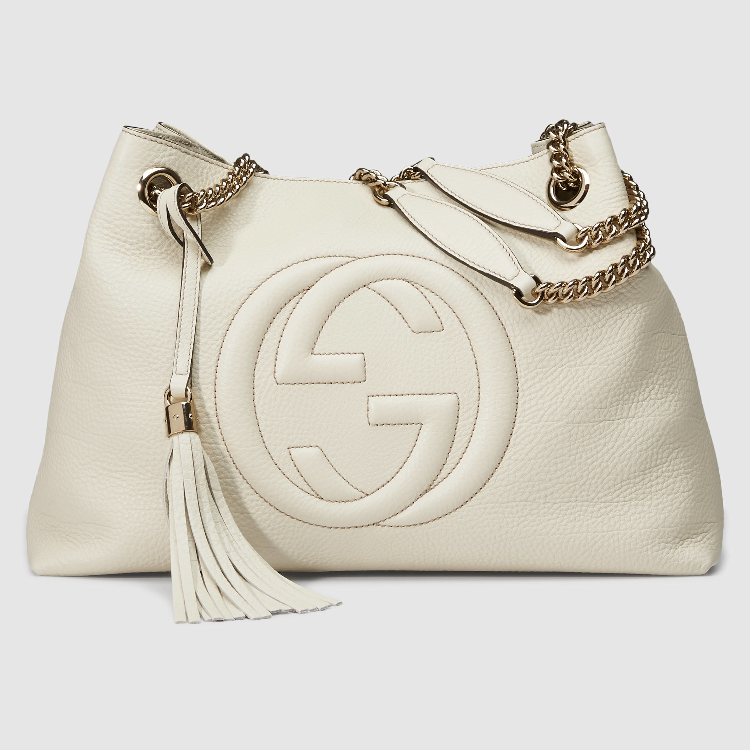 lyst gucci soho leather shoulder bag in white. Black Bedroom Furniture Sets. Home Design Ideas