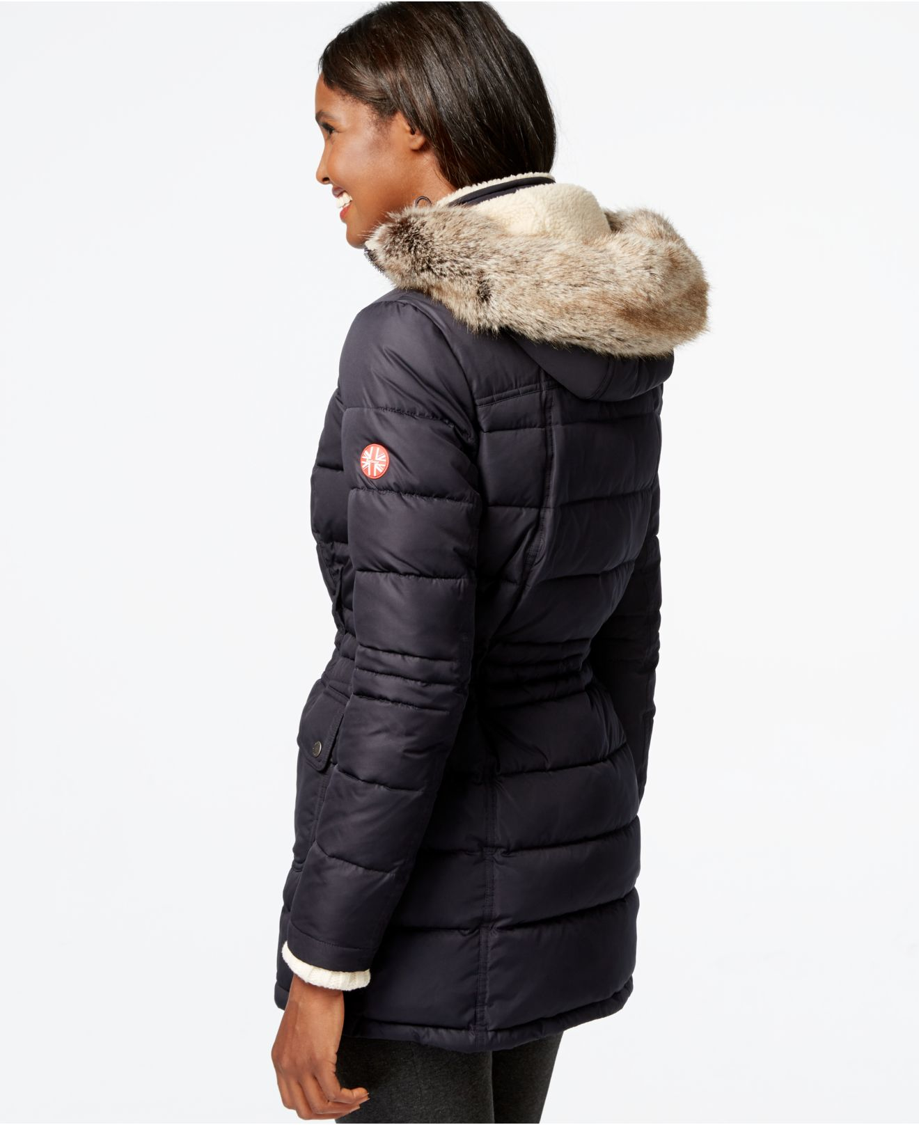 Barbour Landry Faux-fur-collar Quilted Puffer Coat in Blue ...