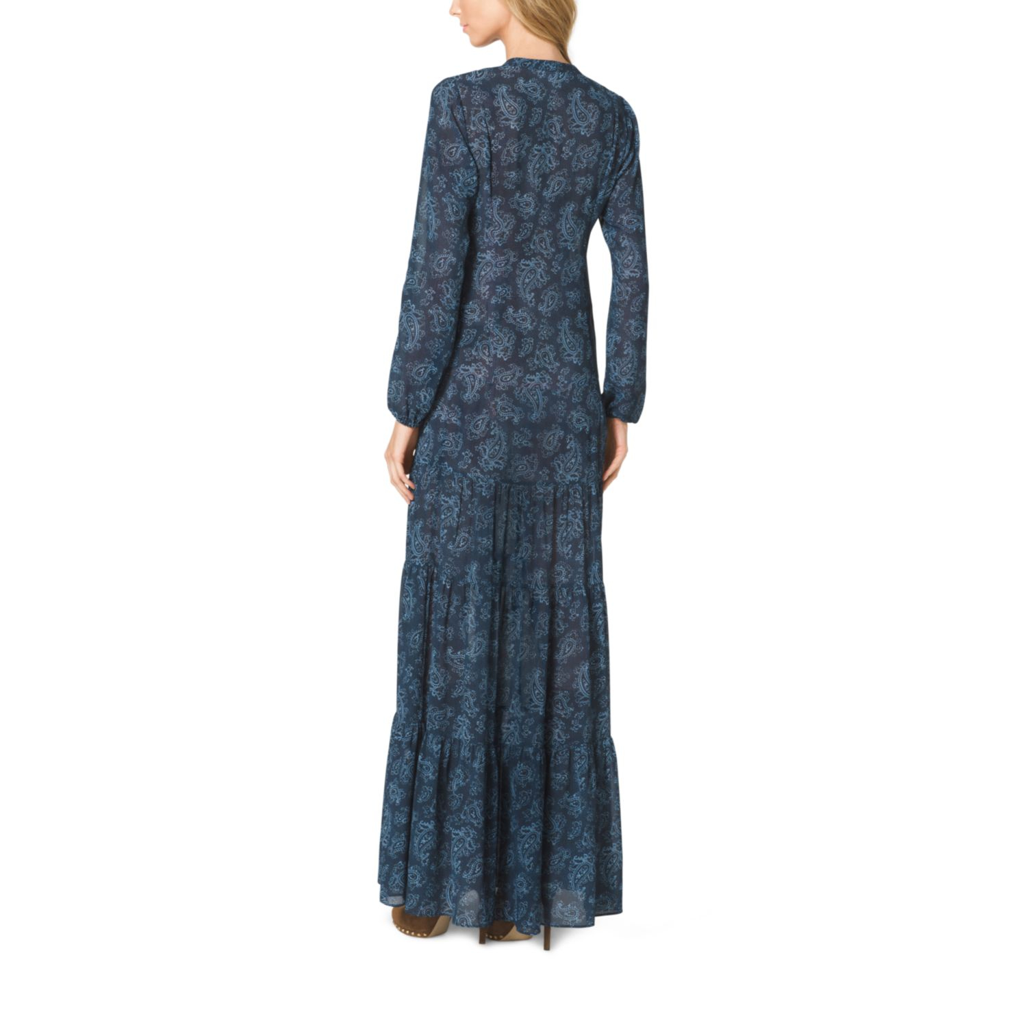 Lyst Michael Kors Paisleyprint Tiered Maxi Dress In Blue