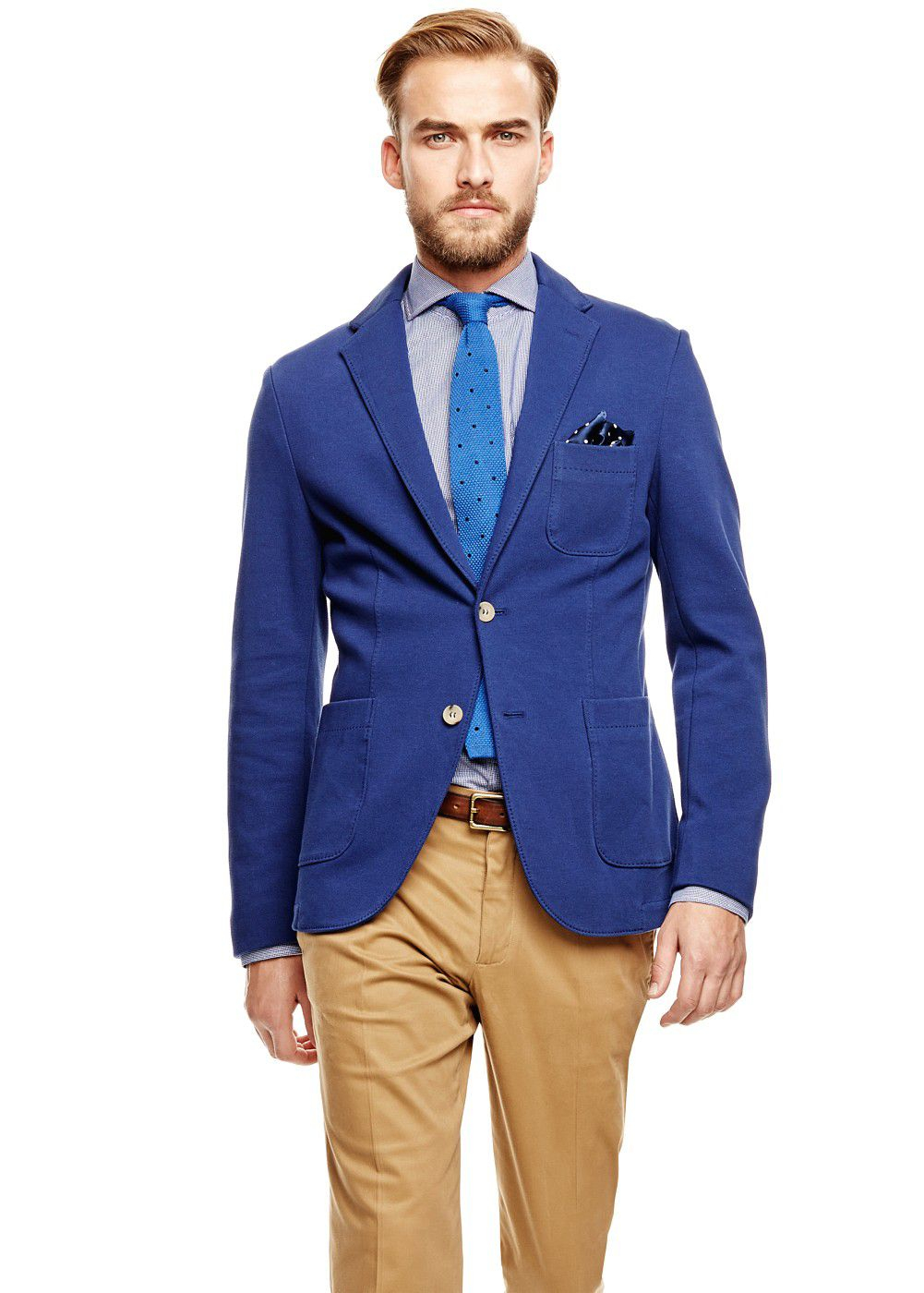 Mango Casual Pique Cotton Blazer in Blue for Men | Lyst
